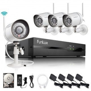 Funlux 4 Ch 720P 500GB HDD Wireless Security System