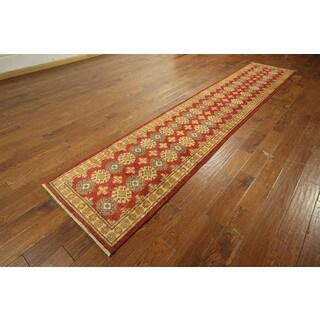 Red Wool Oriental Kazak Hand-knotted Runner Rug (2'6 x 12'6)