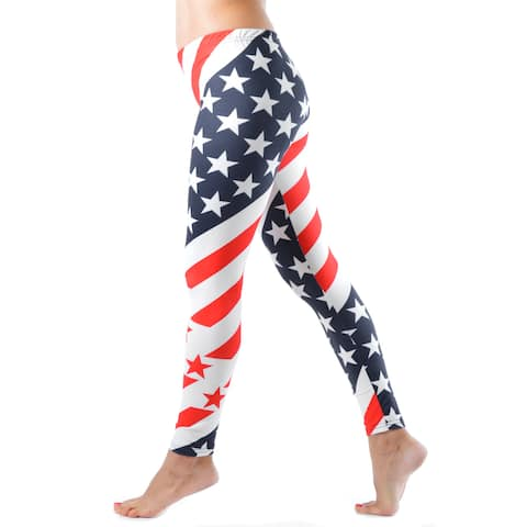 Women Junior's Diagonal-stripe American Flag Leggings