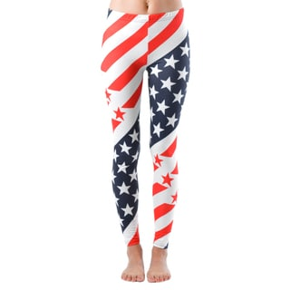 Junior's Diagonal-stripe American Flag Leggings