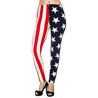 Women Junior Legging American Flag Multicolor Nylon/ Spandex Leggings
