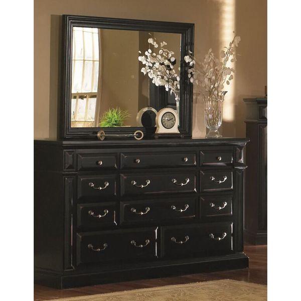 shop progressive torreon antique black pine wood and veneer 6 drawer dresser and mirror on. Black Bedroom Furniture Sets. Home Design Ideas