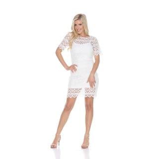 White Mark Women's Aria Polyester/Spandex Lace Dress