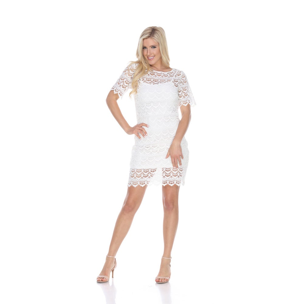 White Mark Womens Aria Polyester/Spandex Lace Dress