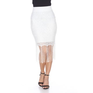 White Mark Women's Vega Polyester/ Spandex Fringe Skirt