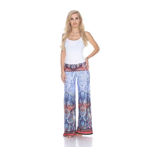 White Mark Women's Paisley Print Polyester and Spandex Palazzo Pants