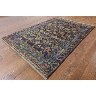 Blue Wool-on-wool Oriental Baluch Hand-knotted Rug (5'7 x 9'10)