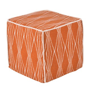 "Handcut Shapes Crushed Orange 12.5"" Square Saxony Corded Zippered Foam Ottoman"