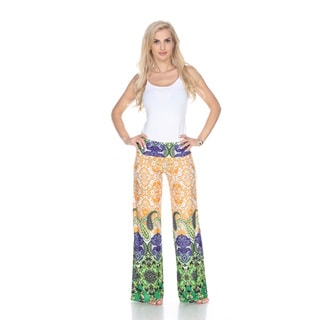 White Mark Women's Multicolor Paisley Print Palazzo Pants