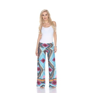 White Mark Women's Blue and Pink Paisley Print Polyester Spandex Palazzo Pants