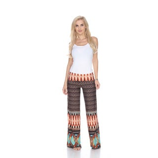 White Mark Women's Orange/Brown Polyester/Spandex Print Palazzo Pants