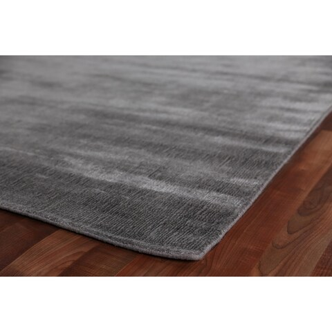 Exquisite Rugs Super Gem Platinum Silver New Zealand Wool and Bamboo Silk Rug - 6' x 9'