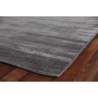 Exquisite Rugs Super Gem Platinum Silver Viscose Bamboo Silk Rug (6' X 9')