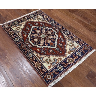 Heriz Hand-knotted Oriental Red Wool Latex-free Rug (2' 7 x 4')