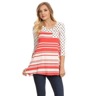 MOA Collection Women's Rayon and Spandex Striped Polka Dot Tunic