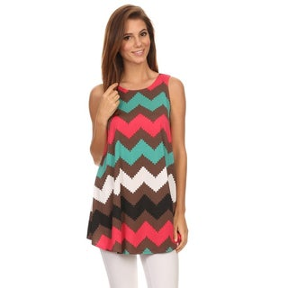 MOA Collection Women's Multicolor Polyester/Spandex Chevron Tank Top
