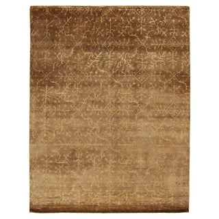 Exquisite Rugs Tibetan Weave Beige Wool/Silk Art Rug (6' x 9')