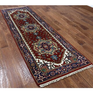 Oriental Heriz Red Wool Hand-knotted Rug (2'7 x 8'1)