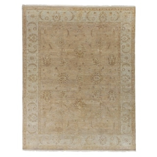 Exquisite Rugs Ziegler Gold/Camel Wool Hand-knotted Rug (6' x 9')