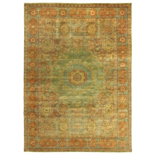 Exquisite Rugs Tabriz Green/Blue New Zealand Wool Rug (6' x 9')