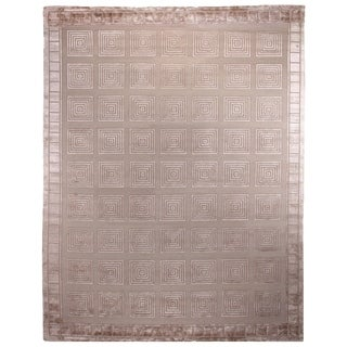 Exquisite Rugs Milano Beige Wool/Artificial-silk Rug (6' x 9')