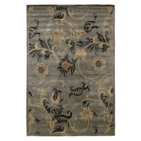 Exquisite Rugs Milano Light Blue New Zealand Wool and Silk Rug - 6' x 9'