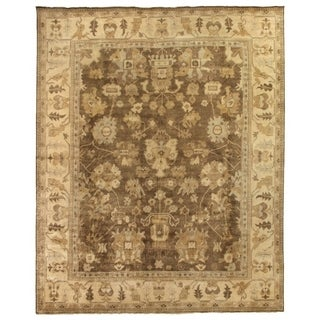 Exquisite Rugs Grey/Ivory Wool Hand-knotted Rug, (6' x 9')