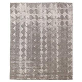 Exquisite Rugs Greek Key Silver Wool/Silk Rug (6' X 9')