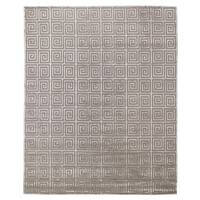 Exquisite Rugs Greek Key Silver New Zealand Wool and Silk Rug - 6' x 9'
