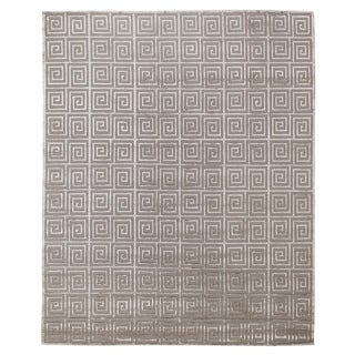 Exquisite Rugs Greek Key Silver New Zealand Wool and Silk Rug (6' X 9') - 6' x 9'