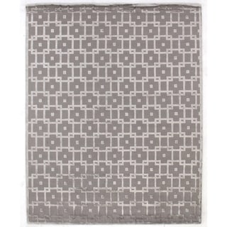 Exquisite Rugs Metro Silver Wool and Silk Velvet Rug (6' X 9')