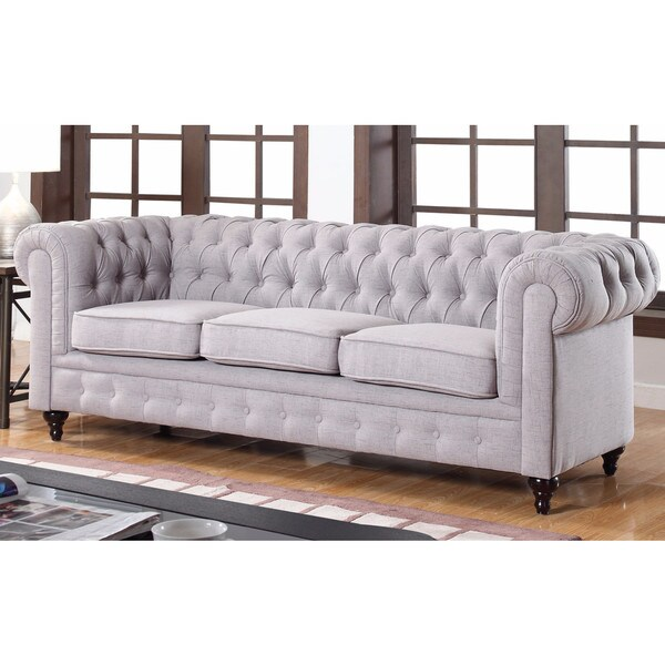 shop classic stone scroll arm tufted linen fabric chesterfield large sofa free shipping today. Black Bedroom Furniture Sets. Home Design Ideas
