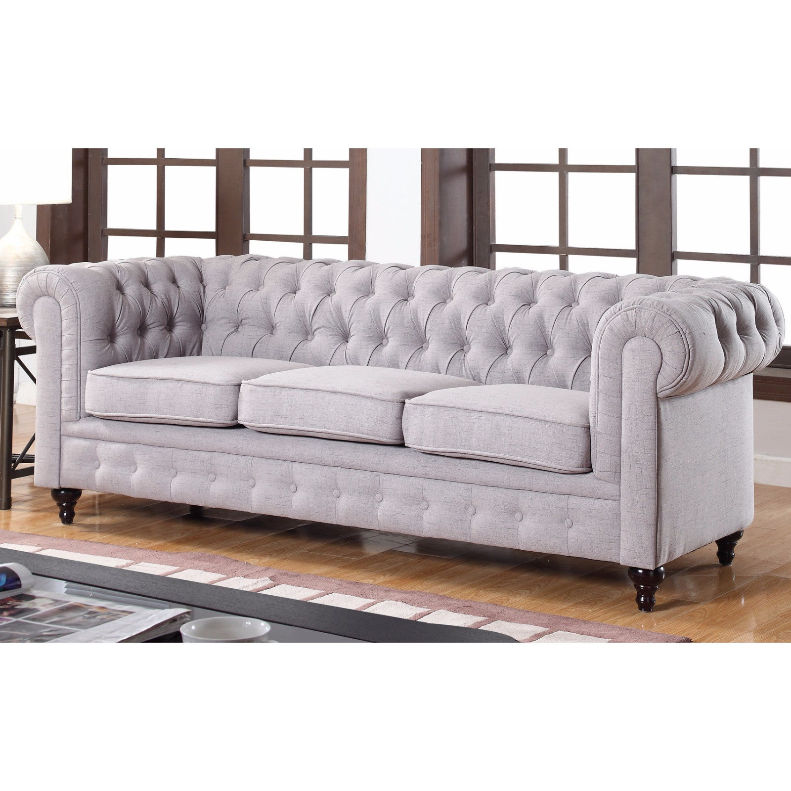 Madison Classic Stone Scroll Arm Tufted Linen Fabric Ches...
