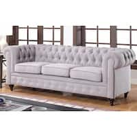 Classic Stone Scroll Arm Tufted Linen Fabric Chesterfield Large Sofa