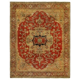 Exquisite Rugs Serapi Red New Zealand Wool Rectangular Hand-knotted Rug (6' x 9')