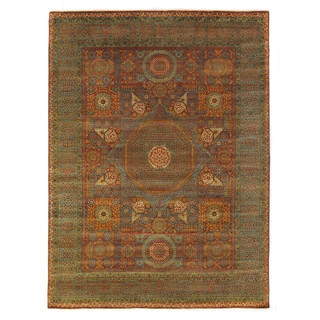 Exquisite Rugs Green and Rust Hand-knotted New Zealand Wool Rug (5'7 x 8' )