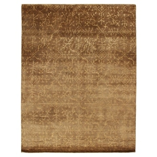 Exquisite Rugs Tibetan-weave Beige Wool and Silk Latex-free Rug (5'6 x 8'6)