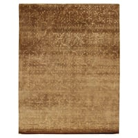 Exquisite Rugs Super Tibetan Beige New Zealand Wool and Silk Rug (5'6 x 8'6) - 5'6 x 8'6