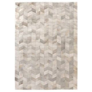 Exquisite Rugs Natural Ivory Hair-on Leather Rug - 5' x 8'