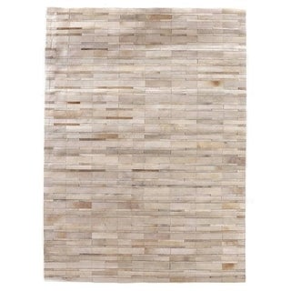 Exquisite Rugs Natural Ivory/Beige Hair-on Leather Rug (5' x 8')