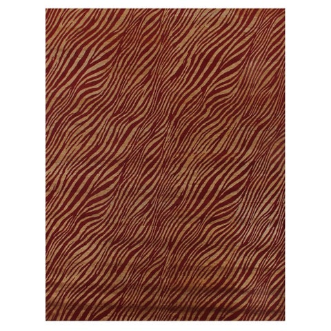Exquisite Rugs Animal Print Red / Gold New Zealand Wool and Silk Rug - 5' x 8'