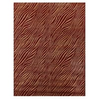 Exquisite Rugs Animal Print Red / Gold New Zealand Wool and Silk Rug (5' x 8') - 5' x 8'