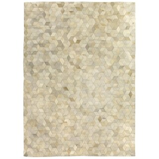 Exquisite Rugs Stitched Blocks Ivory Leather Hair-on-hide Rug - 5' x 8'