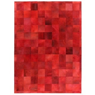Exquisite Rugs Stitched Blocks Red Leather Hair-on-hide Rug (5' x 8')
