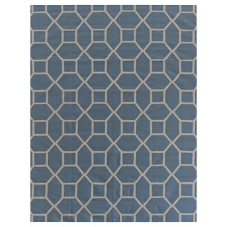 Exquisite Rugs Blue/White Wool Hand-woven Rug (5' x 8')