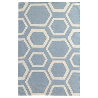 Exquisite Rugs Honeycomb Dhurrie Turquoise and White New Zealand Wool Rug (5' x 8')