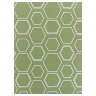 Exquisite Rugs Dhurrie Green / White New Zealand Wool Rug - 5' x 8'