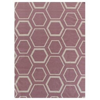 Exquisite Rugs Honeycomb Dhurrie Dusty Rose Red New Zealand Wool Rug (5' X 8')
