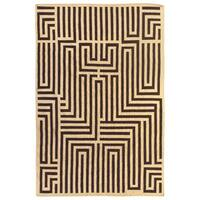 Exquisite Rugs Maze Dhurrie Ivory / Brown New Zealand Wool Rug (5' x 8') - 5' x 8'