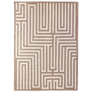 Exquisite Rugs Maze Dhurrie Beige New Zealand Wool Rug (5' x 8')